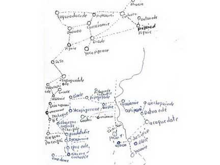 Algunos mapas elaborados durantes los viajes de los ayoreo-anciano al territorio ancestral