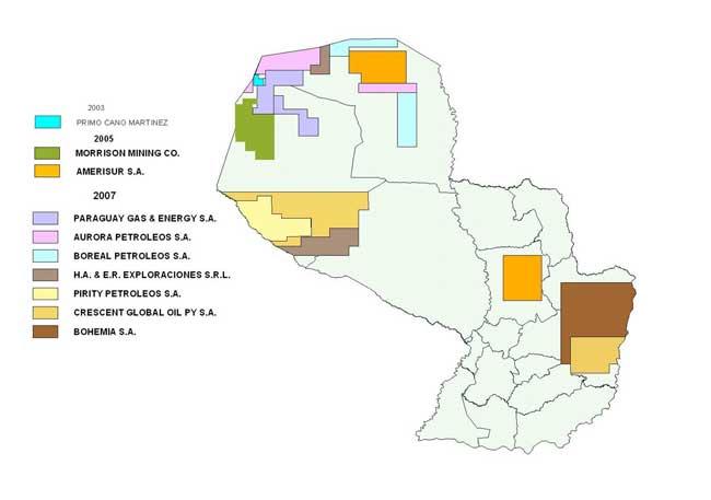 Mapa de Concesiones para explotación de hidrocarburos superpuesto con el Territorio Ayoreo Aislados