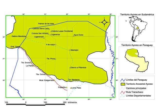El territorio Ayoreo en el mapa de Paraguay de hoy