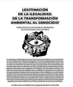 Legitimación de la ilegalidad: De la transformación ambiental al genocidio