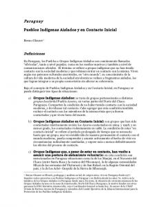 Paraguay - Pueblos Indígenas Aislados y en Contacto Inicial